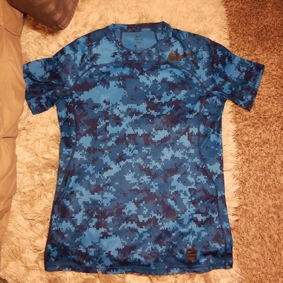 9e7d2bc3 Nike Shirts | Nwot Pro Rare Blue Digital Camo Shirt Sz L | Poshmark